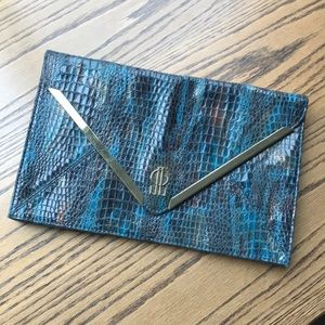 J.Lo Turquoise and Gold Clutch